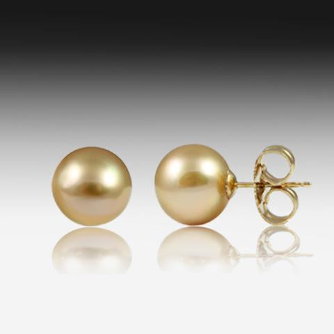12MM GOLDEN PEARL STUDS - Masterpiece Jewellery Opal & Gems Sydney Australia | Online Shop