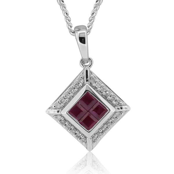 18kt White Gold Ruby and Diamond pendant - Masterpiece Jewellery Opal & Gems Sydney Australia | Online Shop