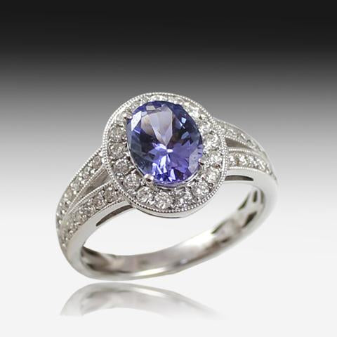 18kt White Gold Tanzanite and Diamond ring - Masterpiece Jewellery Opal & Gems Sydney Australia | Online Shop