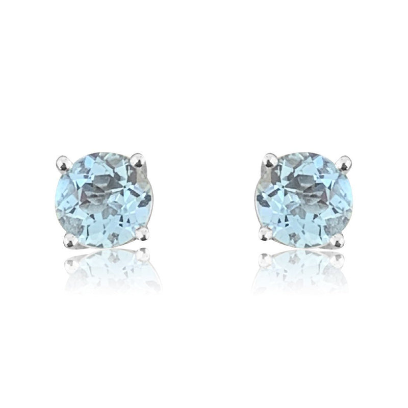One 18kt White Gold Aquamarine studs - Masterpiece Jewellery Opal & Gems Sydney Australia | Online Shop
