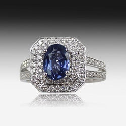 18kt White Gold Blue Sapphire and Diamond ring - Masterpiece Jewellery Opal & Gems Sydney Australia | Online Shop