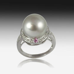 18KT PEARL, DIAMOND AND SAPPHIRE RING - Masterpiece Jewellery Opal & Gems Sydney Australia | Online Shop