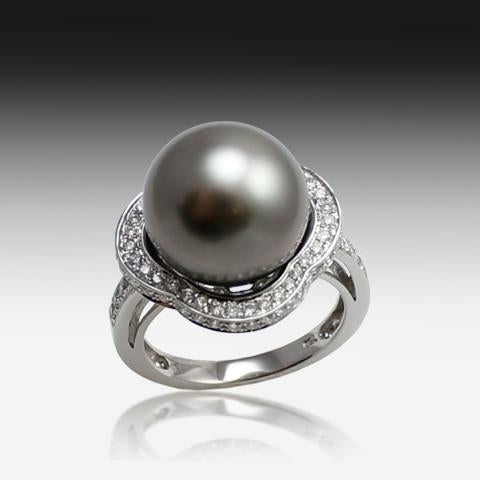 18KT WHITE GOLD BLACK PEARL AND DIAMOND RING - Masterpiece Jewellery Opal & Gems Sydney Australia | Online Shop
