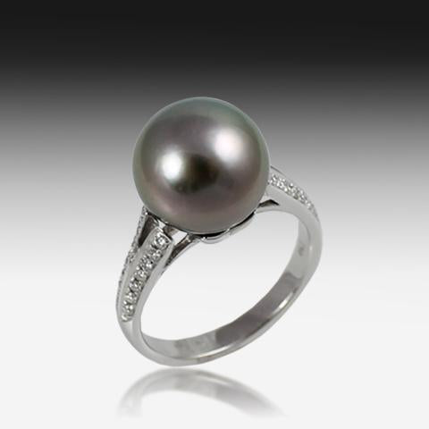 18KT WHITE GOLD BLACK PEARL DIAMOND RING - Masterpiece Jewellery Opal & Gems Sydney Australia | Online Shop