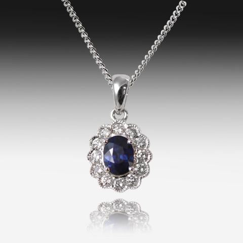 18kt White Gold Sapphire and Diamond pendant - Masterpiece Jewellery Opal & Gems Sydney Australia | Online Shop