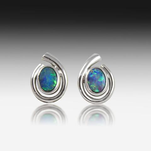 Sterling Silver swirl Opal earrings