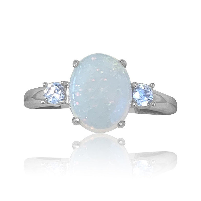 Sterling Silver White Opal ring - Masterpiece Jewellery Opal & Gems Sydney Australia | Online Shop