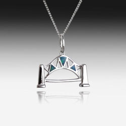Sterling Silver Harbour Bridge Opal pendant