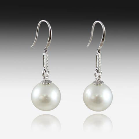 18KT WHITE GOLD 13MM SOUTH SEA PEARL AND DIAMOND EARRINGS