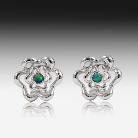 STERLING SILVER FLORAL OPAL EARRINGS - Masterpiece Jewellery Opal & Gems Sydney Australia | Online Shop