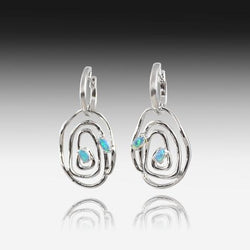 Sterling Silver Circle earrings with Opal