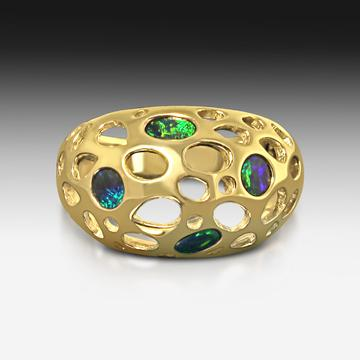 Sterling Sliver opal ring set in Mosaic style