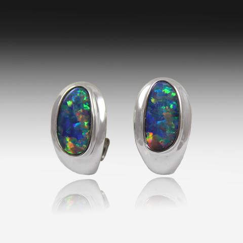 14KT WHITE GOLD OPAL EARRINGS - Masterpiece Jewellery Opal & Gems Sydney Australia | Online Shop