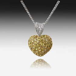 18kt White Gold Yellow Sapphire and Diamond Heart pendant