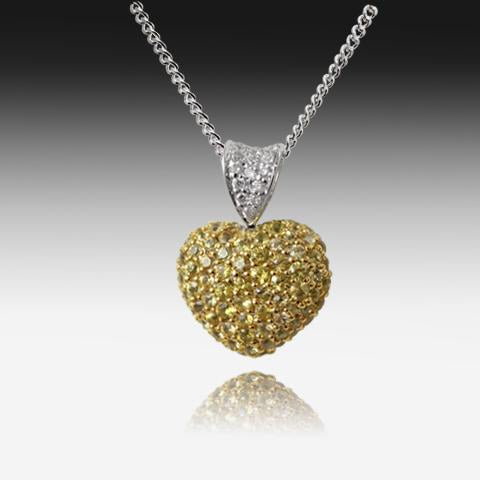 18kt White Gold Yellow Sapphire and Diamond Heart pendant - Masterpiece Jewellery Opal & Gems Sydney Australia | Online Shop