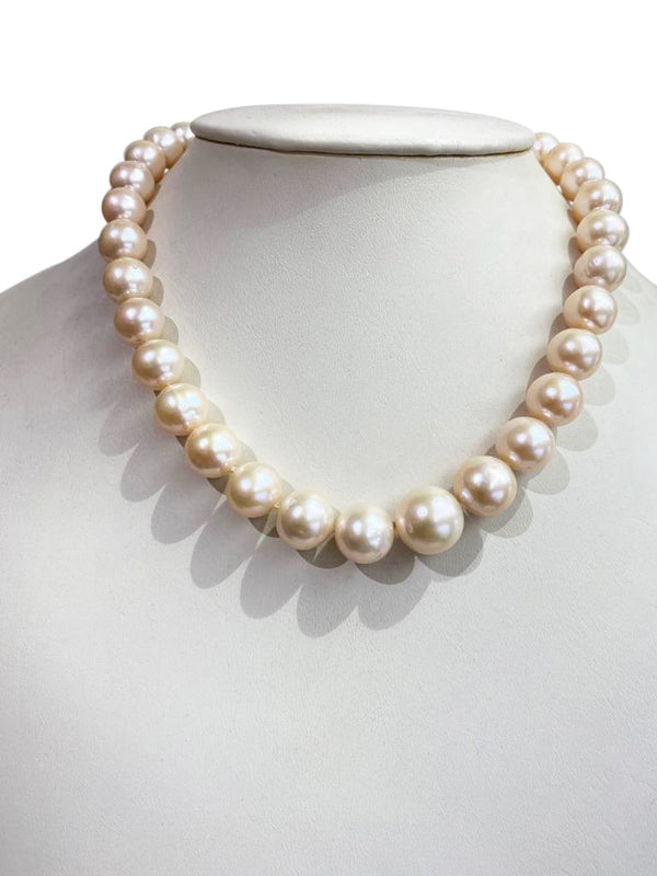 11-15MM Champagne Rose Freshwater Pearl strand with Sterling Sliver clasp