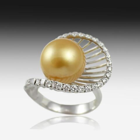 18KT WHITE GOLD GOLDEN PEARL AND DIAMOND RING - Masterpiece Jewellery Opal & Gems Sydney Australia | Online Shop
