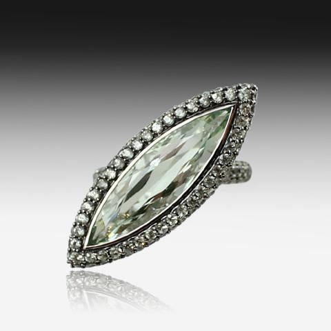 18kt White Gold Green Amethyst and Green Sapphire ring - Masterpiece Jewellery Opal & Gems Sydney Australia | Online Shop
