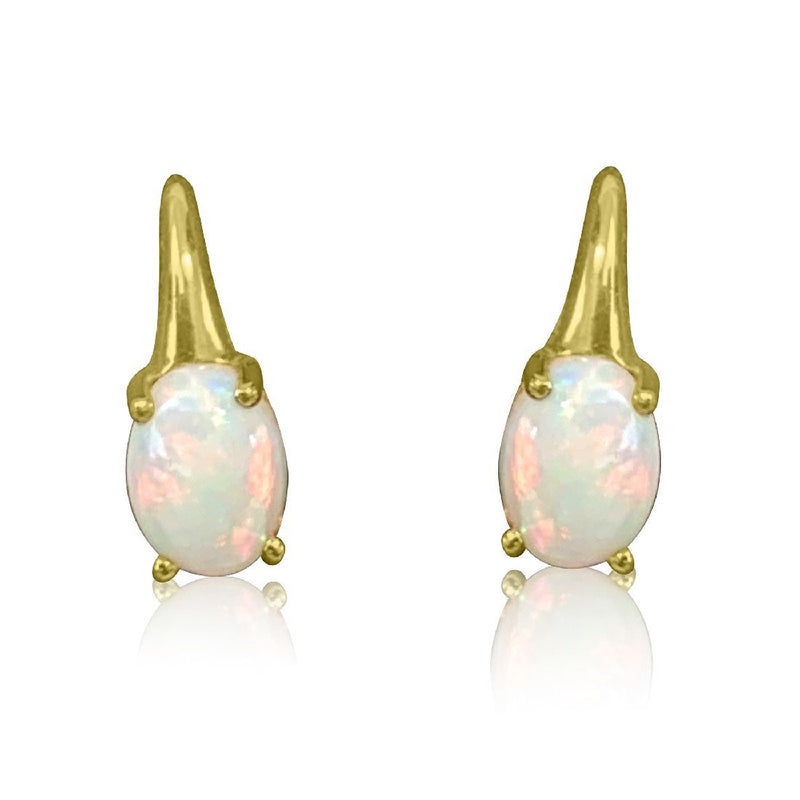 18kt Yellow Gold Shepard Hook White Opal earrings - Masterpiece Jewellery Opal & Gems Sydney Australia | Online Shop
