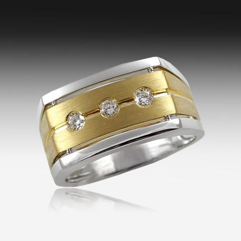 18kt Two tone Gents Diamond Gold ring