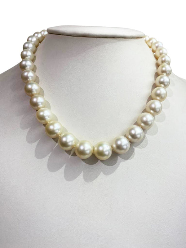 10.5mm-14mm Yellow South Sea Pearl strand with 18kt gold clasp