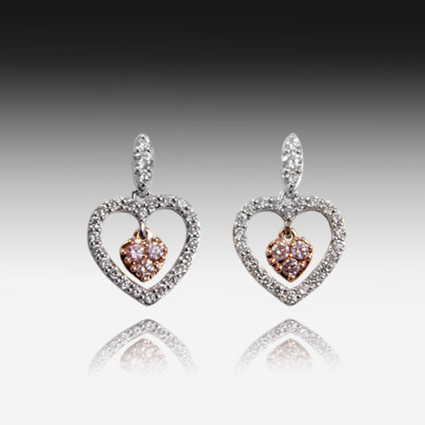 18kt White Gold earrings with Pink Diamonds