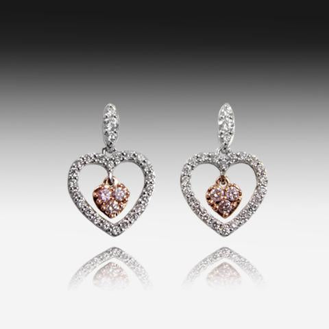 18kt White Gold earrings with Pink Diamonds - Masterpiece Jewellery Opal & Gems Sydney Australia | Online Shop