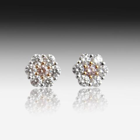 18kt White Gold Pink and White Diamond studs - Masterpiece Jewellery Opal & Gems Sydney Australia | Online Shop