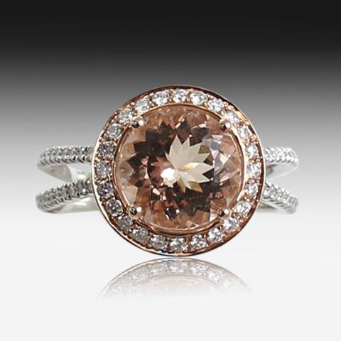 18kt White and Rose Gold Morganite and Diamond ring - Masterpiece Jewellery Opal & Gems Sydney Australia | Online Shop