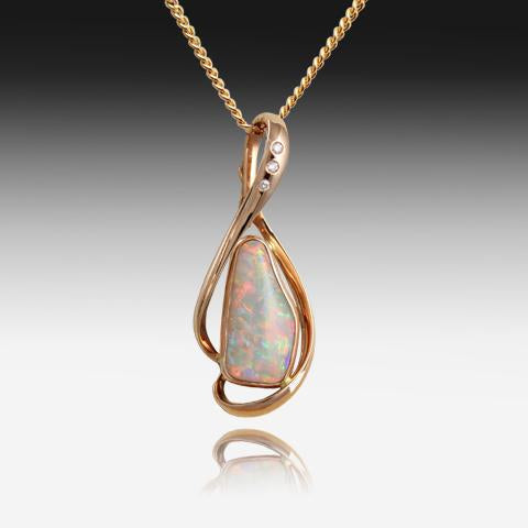 14kt Rose Gold Light Opal and diamond pendant - Masterpiece Jewellery Opal & Gems Sydney Australia | Online Shop