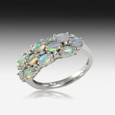 14kt Gold 3 Row Opal ring - Masterpiece Jewellery Opal & Gems Sydney Australia | Online Shop