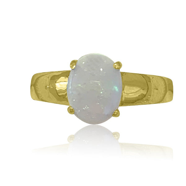 Sterling Silver Gold plated White Opal ring