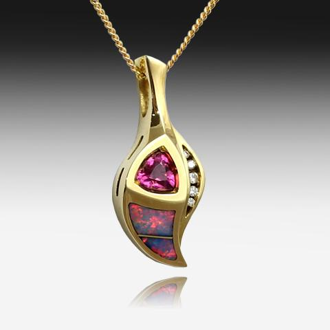 18KT OPAL INLAY AND RHODOLITE PENDANT - Masterpiece Jewellery Opal & Gems Sydney Australia | Online Shop