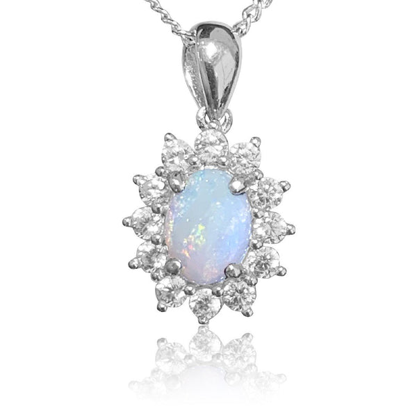 Sterling Silver White Opal cluster pendant
