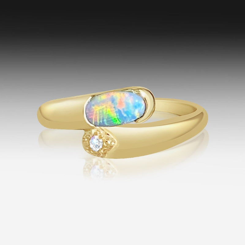 14kt Yellow Gold Black Opal ring - Masterpiece Jewellery Opal & Gems Sydney Australia | Online Shop