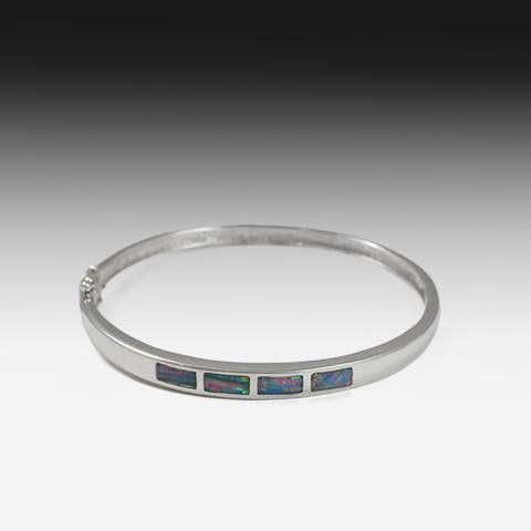 Silver Opal Inlay bangle