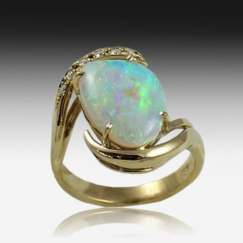 18KT YELLOW GOLD OPAL AND DIAMOND RING - Masterpiece Jewellery Opal & Gems Sydney Australia | Online Shop