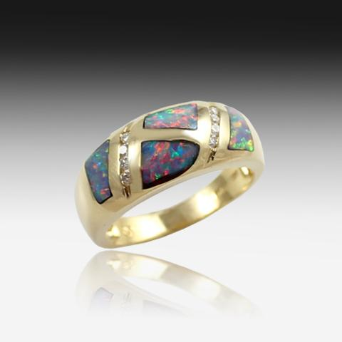 14kt Yellow Gold Opal inlay and Diamond ring - Masterpiece Jewellery Opal & Gems Sydney Australia | Online Shop