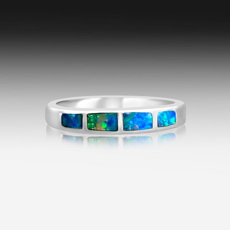 14kt White Gold Opal inlay band - Masterpiece Jewellery Opal & Gems Sydney Australia | Online Shop