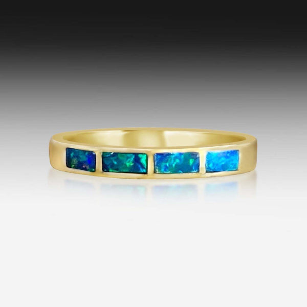 14kt Yellow Gold Opal inlay bands - Masterpiece Jewellery Opal & Gems Sydney Australia | Online Shop
