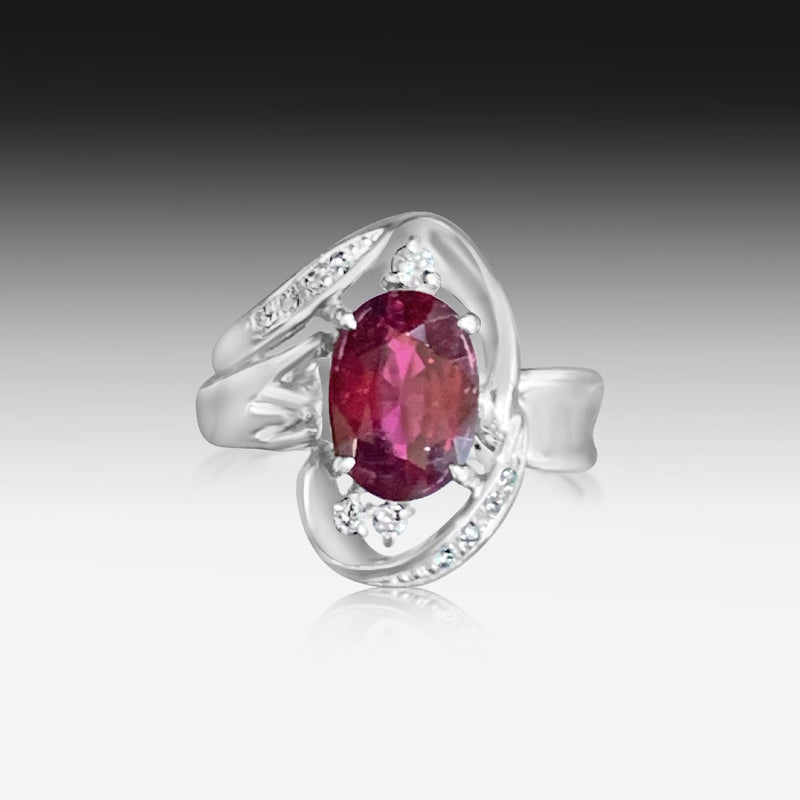 Platinum Red Tourmaline ring - Masterpiece Jewellery Opal & Gems Sydney Australia | Online Shop