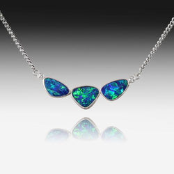 14KT WHITE GOLD OPAL NECKLACE - Masterpiece Jewellery Opal & Gems Sydney Australia | Online Shop