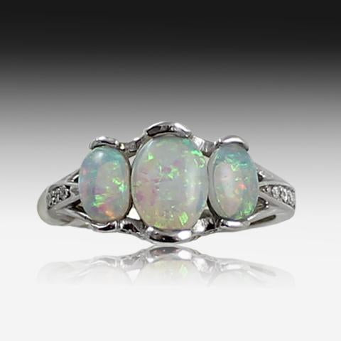 14kt White Gold Opal ring - Masterpiece Jewellery Opal & Gems Sydney Australia | Online Shop