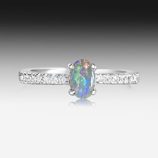 Sterling Silver Opal triplet with cubic zirconia
