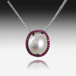 STERLING SILVER SOUTH SEA PEARL AND SAPPHIRE PENDANT - Masterpiece Jewellery Opal & Gems Sydney Australia | Online Shop