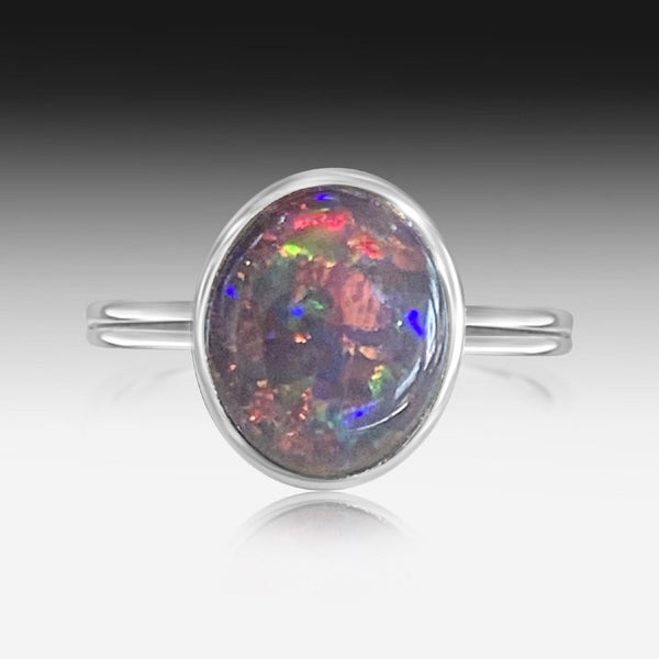 Sterling silver 11x9mm Opal triplet ring