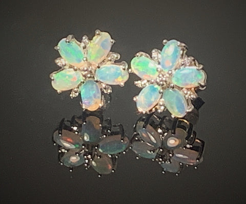 Sterling silver Opal floral earrings