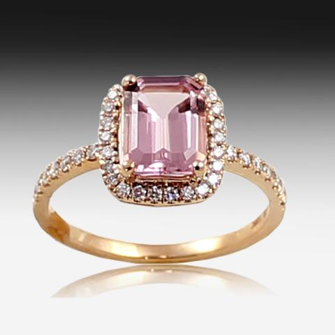 18KT Rose Gold Morganite and Diamond ring - Masterpiece Jewellery Opal & Gems Sydney Australia | Online Shop