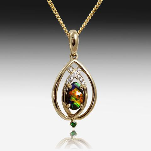 14kt Yellow Gold Boulder Opal and Diamond pendant