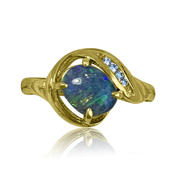 14kt Gold Black Opal and DIamond ring
